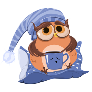 Owl with coffee cup